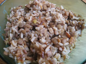 Lentils and rice with caramelised onions
