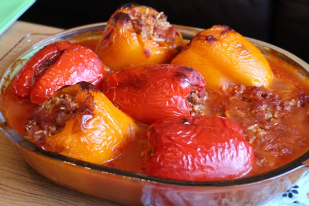 Cypriot Stuffed Peppers and Okra Yiahni.